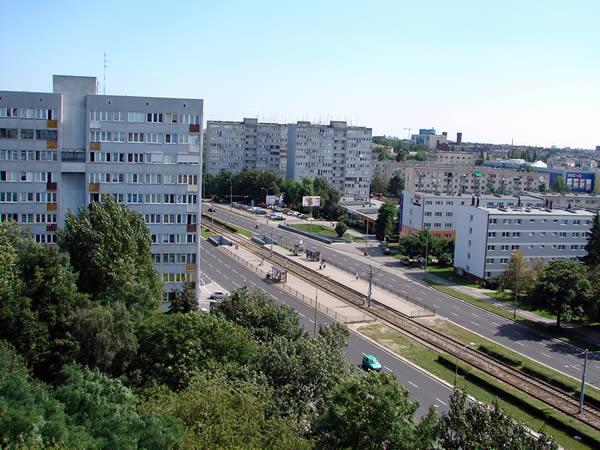 Widok z góry na ul. Legnicką