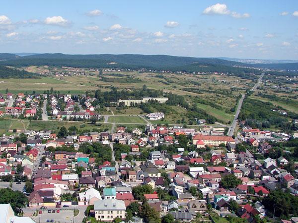 Miasto Chęciny - widok z zamku Chęciny