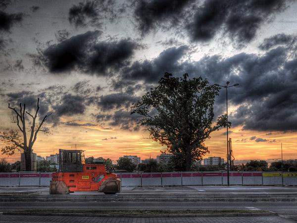 Zdjęcie - Walec o zachodzie słońca