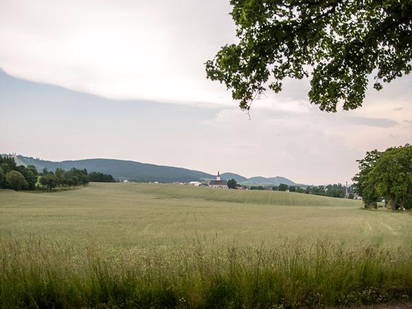 Widok na kościół w Králíkach